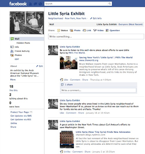 Little Syria Exhibit on Facebook