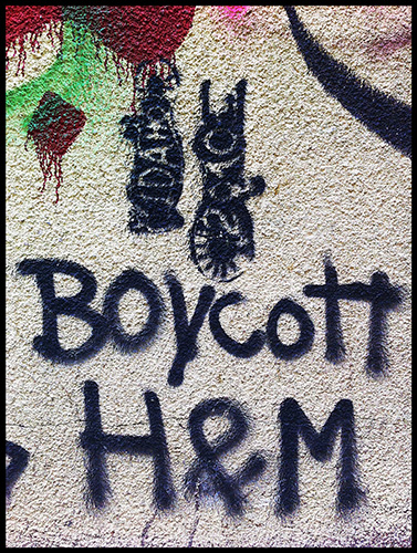 Boycott H&M. Graffiti on the streets of Beirut.