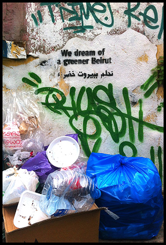 Greener Beirut. Graffiti on the streets of Beirut.