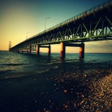 Sunset at the Mackinac Bridge