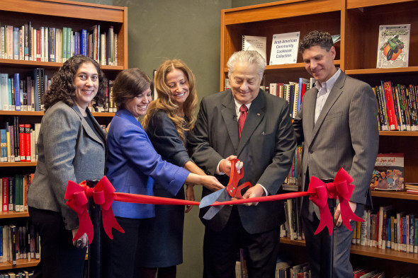 Suma Rosen, Maha Freij, Manal Saab, and Devon Akmon with Russell J. Ebeid at the naming ceremony for the Russell J. Ebeid Library & Resource Center.